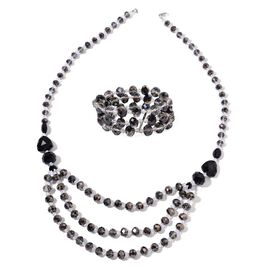 AAA Simulated Black Spinel and Simulated White Diamond Necklace (Size 26) and Stretchable Bracelet (Size 6.50) in Silver Tone