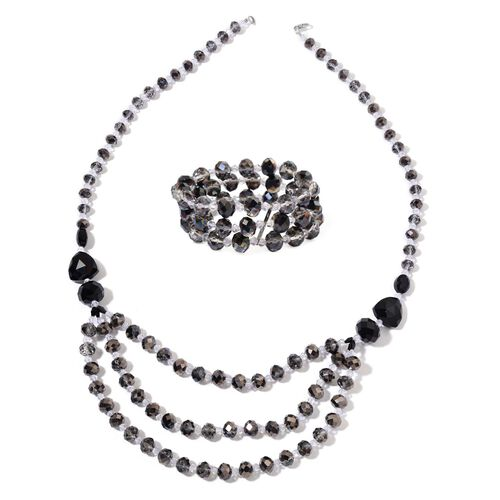 Black Tourmaline Colour Necklace (Size 26) and Stretchable Bracelet (Size 6.50) in Silver Tone