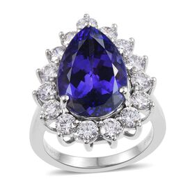 RHAPSODY 950 Platinum AAAA Tanzanite (Pear 11.55 Ct), Diamond (VS/E-F) Ring 13.800 Ct.