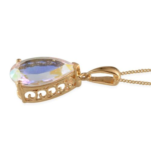 Mercury Mystic Topaz (Pear) Solitaire Pendant With Chain in 14K Gold Overlay Sterling Silver 5.750 Ct.