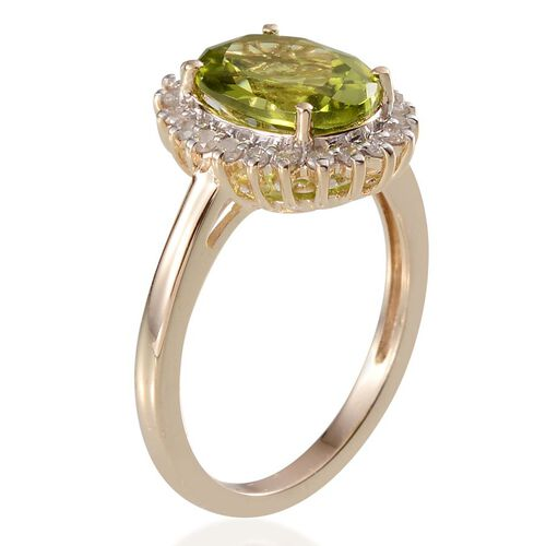 9K Y Gold AAA Hebei Peridot (Ovl 2.75 Ct), Diamond Ring 2.900 Ct.