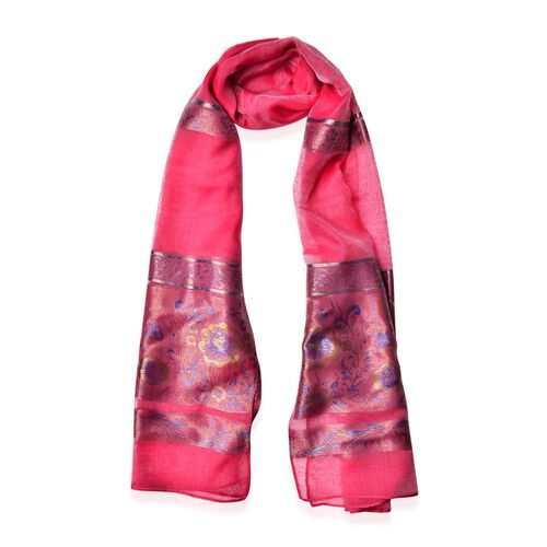 Floral and Leaves Pattern Blue, Golden, Pink and Multi Colour Dark Rose Red Colour Scarf (Size 180x70 Cm)