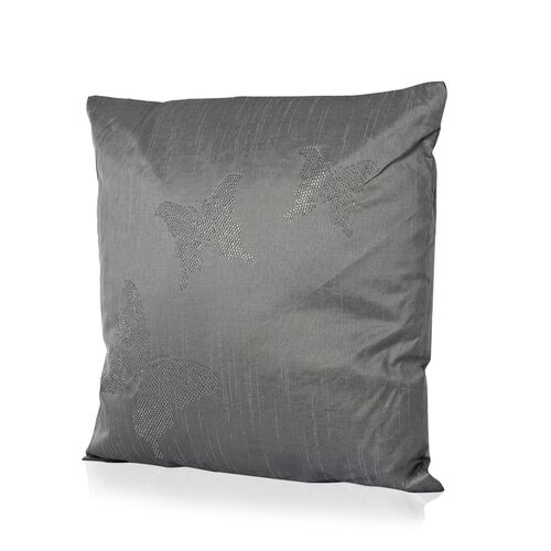 Butterfly Pattern Grey Colour Cushion with Silver Studs (Size 42x42 Cm)