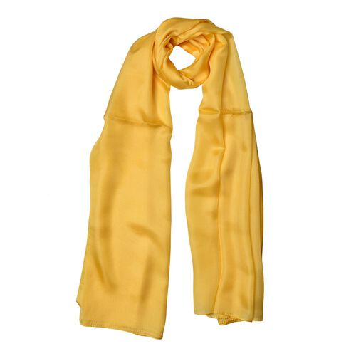 100% Mulberry Silk Primrose Yellow Colour Scarf (Size 180x110 Cm)