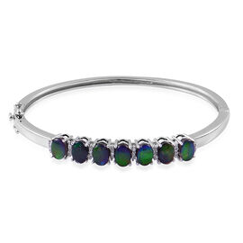 Canadian Ammolite (Ovl), White Topaz Bangle (Size 7.5) in Platinum Overlay Sterling Silver 5.750 Ct.