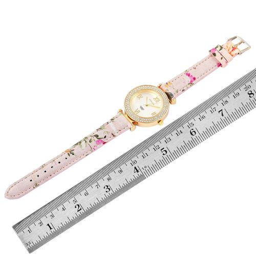 STRADA Japanese Movement White Dial with White Austrian Crystal Water Resistant Watch in Gold Tone with Stainless Steel Back and Floral Pattern Pink Colour Strap