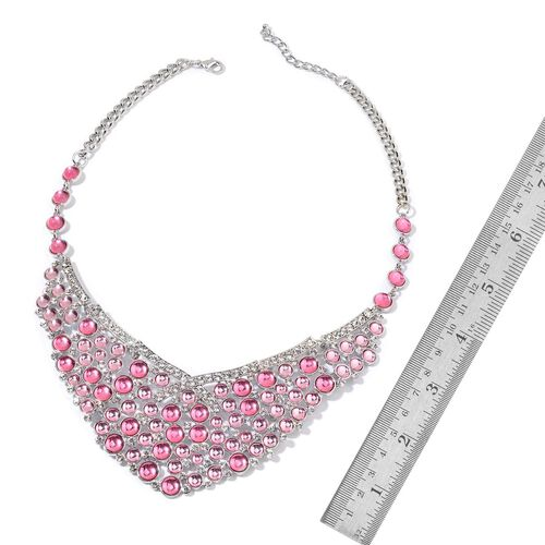 Simulated Pink Stone and White Austrian Crystal Necklace (Size 20 with 2 inch Extender) in Silver Tone