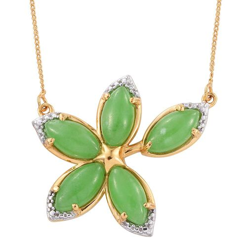 Green Jade (Mrq) Floral Necklace (Size 18) in 14K Gold Overlay Sterling Silver 6.750 Ct.