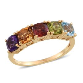 Hebei Peridot (Cush), Sky Blue Topaz, Mozambique Garnet, Citrine and Amethyst Half Eternity Ring in 14K Gold Overlay Sterling Silver 3.000 Ct.