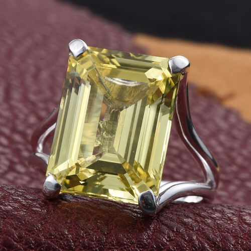 Simulated Yellow Sapphire (Oct) Ring in Sterling Silver