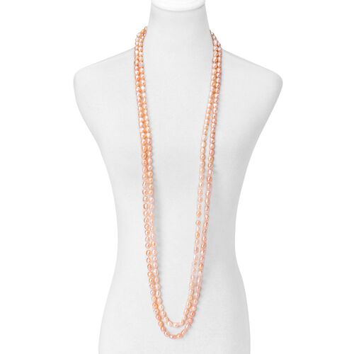 Limited Available -AAA Double Shine High Lustre Fresh Water Natural Peach Pearl Necklace (Size 100)
