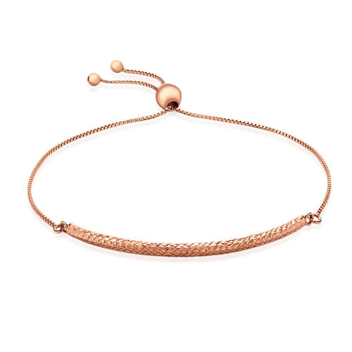 Vicenza Collection 9K Rose Gold Box Chain and Diamond Cut Adjustable Bracelet (Size 6.5 to 7.5), Gold wt 2.10 Gms.