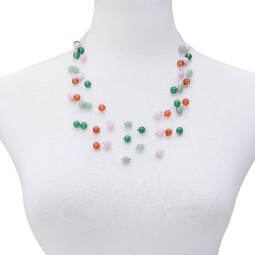 Multi Gem Stones Necklace (Size 18) in Silver Tone