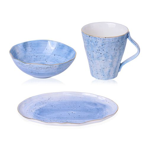 3 Pcs. Hand-Painted Porcelain Breakfast Set in Blue with Gold Trimming, Oval Plate (30x18 cm), Bowl (13x5 cm), Mug (10x10 cm)