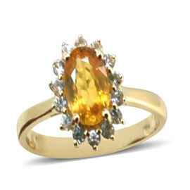 9K Y Gold Yellow Sapphire (Ovl 1.75 Ct), White Sapphire Ring 2.310 Ct.