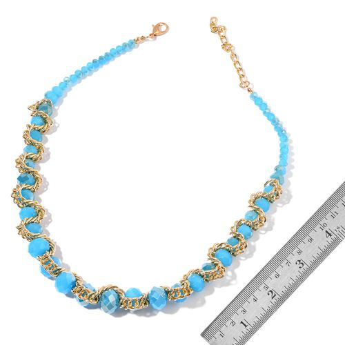 Simulated Apatite Necklace (Size 20 with 2 inch Extender) and Stretchable Bracelet (Size 7.50) in Gold Tone