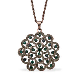 Green and Grey Austrian Crystal Pendant With Chain (Size 28 with 3 inch Extender) in Rose Gold Tone