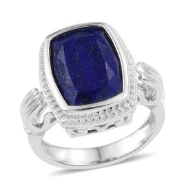 Lapis Lazuli (Cush) Solitaire Ring in ION Plated Platinum Bond 6.750 Ct.