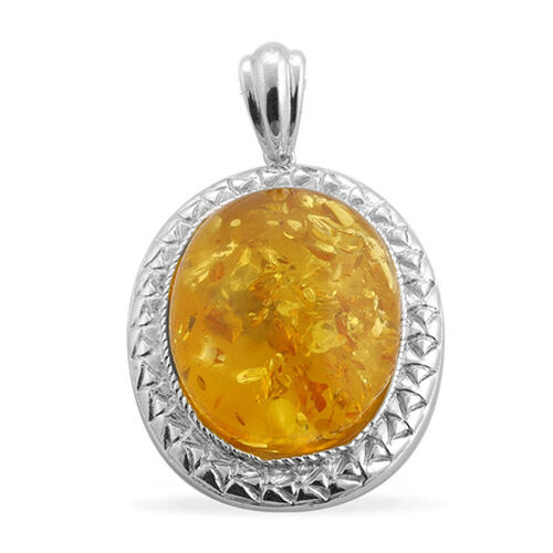Amber (Ovl) Solitaire Pendant in Platinum Overlay Sterling Silver 11.250 Ct.