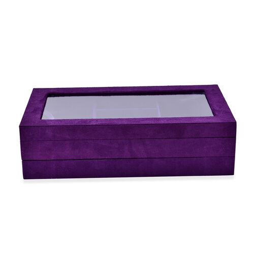 Purple Colour Velvet 2 Stackes Jewelry Box with Removable 110 Ring Slots Tray (Size 37x21x10 Cm)