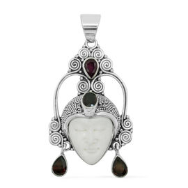 Princess Bali Collection OX Bone Carved Face (Ovl 6.00 Ct), Red Garnet, African Ruby and Rhodolite Garnet Pendant in Sterling Silver 16.000 Ct.
