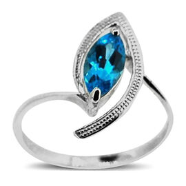 Swiss Blue Topaz (Mrq) Solitaire Ring in Sterling Silver 1.250 Ct.
