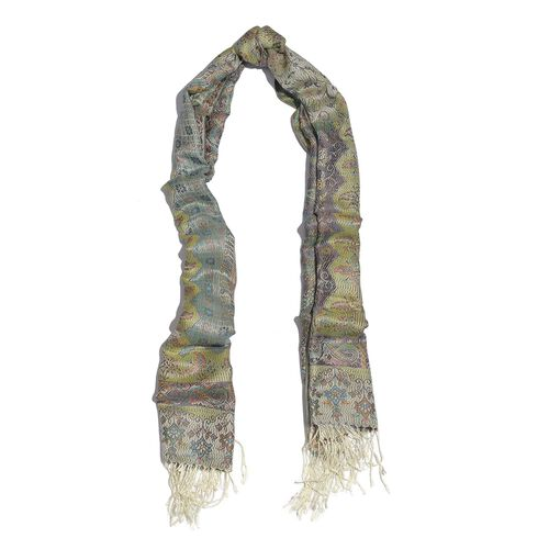 SILK MARK - 100% Superfine Silk Multi Colour Floral and Leaves Pattern Cream Colour Jacquard Jamawar Scarf with Fringes (Size 180x70 Cm) (Weight 125-140 Grams)