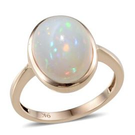 9K Y Gold Ethiopian Welo Opal (Ovl) Solitaire Ring 4.500 Ct.
