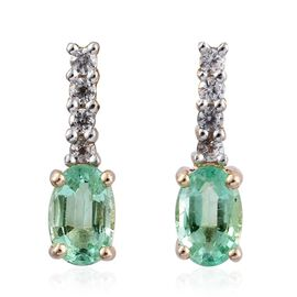 9K Yellow Gold Boyaca Colombian Emerald (Ovl), Natural Cambodian Zircon Earrings (with Push Back) 1.150 Ct.