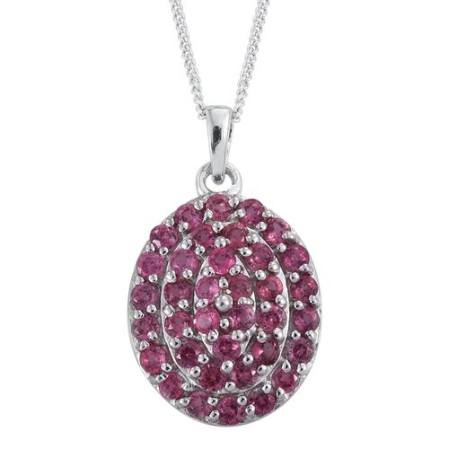 Mahenge Spinel (Rnd) Cluster Pendant With Chain in Platinum Overlay Sterling Silver 1.500 Ct.