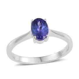 ILIANA 18K W Gold AAA Tanzanite (Ovl) Solitaire Ring 1.000 Ct.