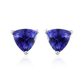 14K White Gold 1 Carat AA Tanzanite Trillion Stud Earrings (with Push Back)