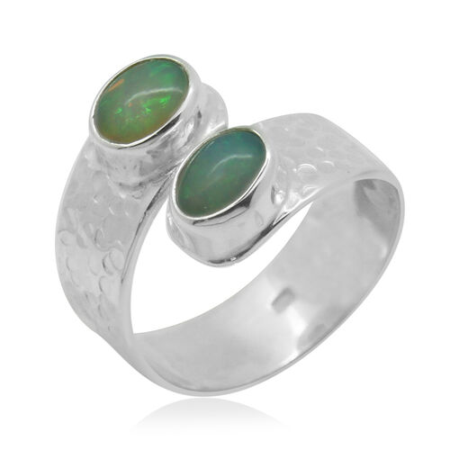 Royal Bali Collection Ethiopian Welo Opal (Ovl) Crossover Ring in Sterling Silver 0.750 Ct.