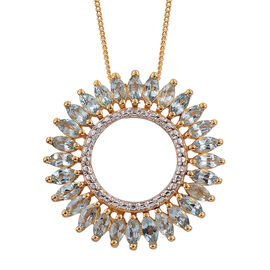Espirito Santo Aquamarine (Mrq) Circle Pendant with Chain in 14K Gold Overlay Sterling Silver 1.750 Ct.
