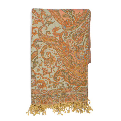 80% Cotton and 20% Wool Orange, Mustard and Multi Colour Paisley Pattern Jacquard Throw with Tassels (Size 180X140 Cm)
