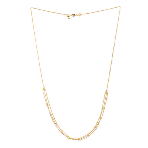 14K Gold Overlay Sterling Silver Adjustable 3 Strand Chain (Size 20), Silver wt 3.10 Gms.