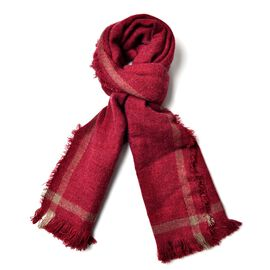 Red and Chocolate Colour Scarf with Tassels (Size 190x60 Cm)