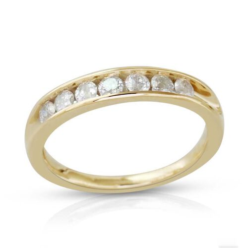 9K Y Gold SGL Certified Diamond (Rnd) (I3/ G-H) Half Eternity Band Ring 0.500 Ct.