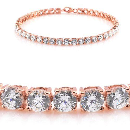 J Francis - Rose Gold Overlay Sterling Silver (Rnd) Bracelet (Size 7.5) Made with SWAROVSKI ZIRCONIA