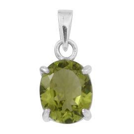 AA Hebei Peridot (Ovl) Solitaire Pendant in Rhodium Plated Sterling Silver 4.000 Ct.