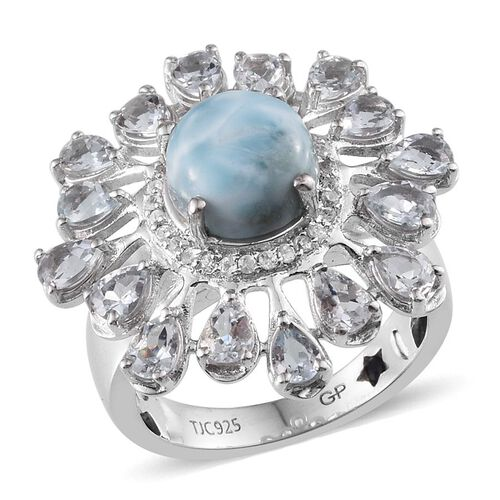 GP Larimar (Rnd 2.50 Ct), Espirito Santo Aquamarine, Kanchanaburi Blue Sapphire and Natural Cambodian Zircon Ring in Platinum Overlay Sterling Silver 5.280 Ct.