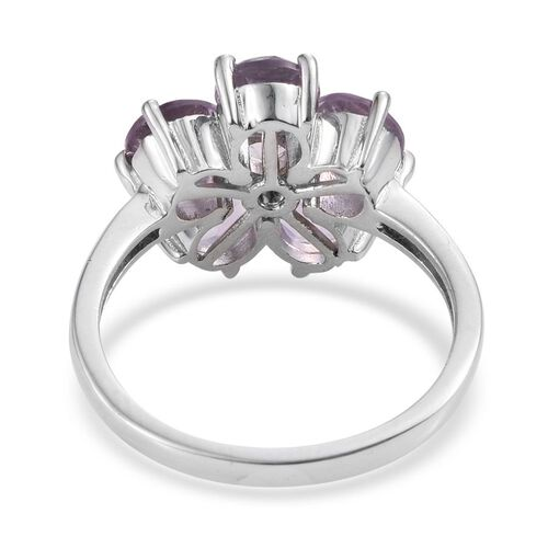 Rose De France Amethyst (Rnd) Floral Ring in ION Plated Platinum Bond 3.750 Ct.