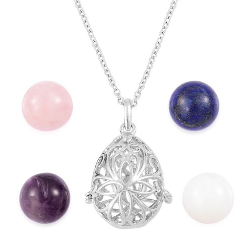 Rose Quartz, Amethyst, Lapis Lazuli and Opalite Interchangeable Filigree Teardrop Pendant with Chain (Size 24) in Silver Tone with Stainless Steel 119.500 Ct.