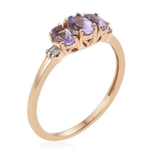 14K Y Gold Rare Natural Pink Tanzanite (Ovl 0.50 Ct), Diamond Ring 1.030 Ct.