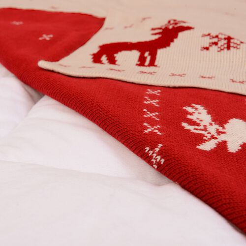 Reindeer and Snowflake Knitted Red and White Colour Blanket (Size 152x127 Cm)
