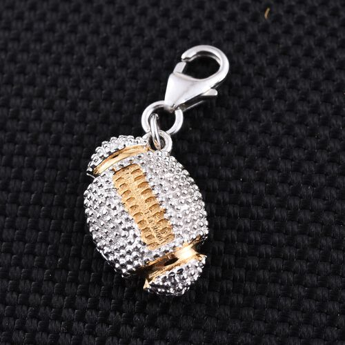 Yellow Gold and Platinum Overlay Sterling Silver Rugby Ball Charm, Silver wt 3.90 Gms.