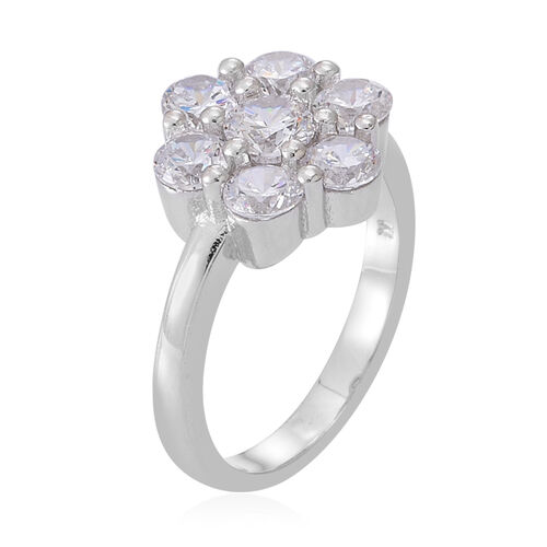 ELANZA AAA Simulated White Diamond (Rnd) Floral Ring, Pendant and Stud Earrings (with Push Back) in Rhodium Plated Sterling Silver