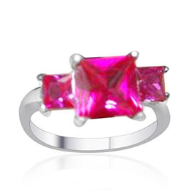 AAA Simulated Pink Diamond (Sqr) 3 Stone Ring in Sterling Rhodium Plated Sterling Silver