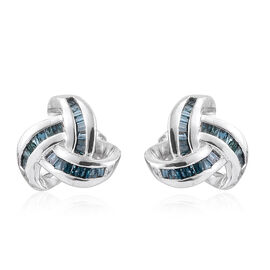 Blue Diamond (Bgt) Triple Knot Stud Earrings (with Push Back) in Platinum Overlay Sterling Silver 0.250 Ct.