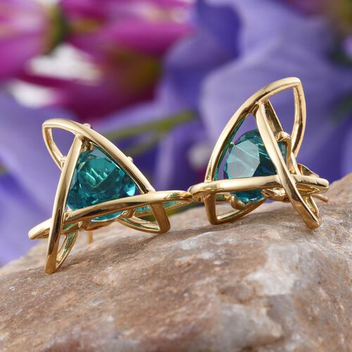 Capri Blue Quartz (Rnd) Stud Earrings (with Push Back) in 14K Gold Overlay Sterling Silver 8.500 Ct.
